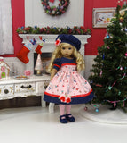 Snow Bunnies - dress, hat, tights & shoes for Little Darling Doll or 33cm BJD