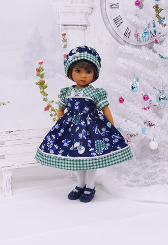 Snow Mice - dress, hat, tights & shoes for Little Darling Doll or other 33cm BJD