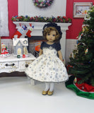 Snowfall - dress, hat, tights & shoes for Little Darling Doll or other 33cm BJD