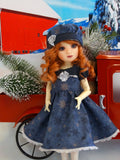 Snowflakes at Midnight - dress, beret, tights & shoes for Little Darling Doll or 33cm BJD
