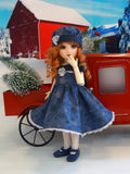 Snowflakes at Midnight - dress, beret, tights & shoes for Little Darling Doll
