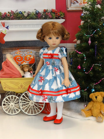 Snowman Wonderland - dress, tights & shoes for Little Darling Doll or 33cm BJD
