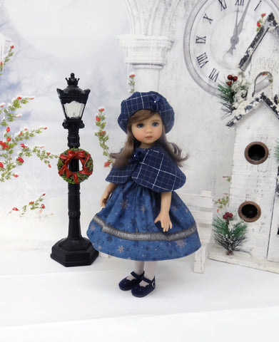 Snowstorm - capelet, beret, dress, tights & shoes for Little Darling Doll or 33cm BJD