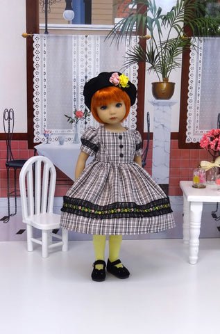 Sophisticated Plaid - dress, hat, tights & shoes for Little Darling Doll or 33cm BJD