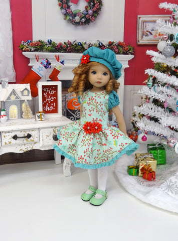 Spearmint Holly - dress, beret, tights & shoes for Little Darling Doll or other 33cm BJD