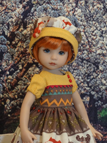 Spirit Animal - dress, hat, tights & shoes for Little Darling Doll or 33cm BJD