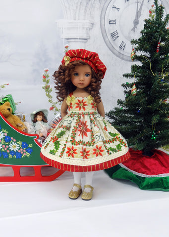 Splendid Poinsettia - dress, hat, tights & shoes for Little Darling Doll or 33cm BJD