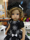 Spooky Spiders - dress, beret, tights & shoes for Little Darling Doll or other 33cm BJD