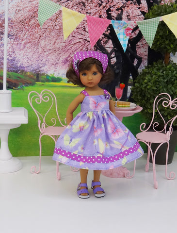 Spring Butterfly - dress, kerchief & sandals for Little Darling Doll or 33cm BJD