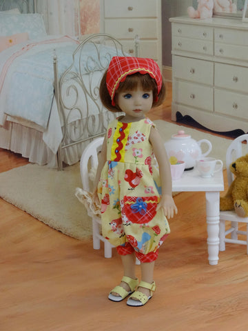 Spring Chickadee - romper, kerchief & shoes for Little Darling Doll