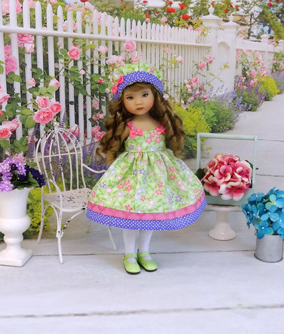 Spring Clematis - dress, hat, tights & shoes for Little Darling Doll or 33cm BJD
