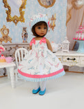 Spring in Paris - dress, hat, tights & shoes for Little Darling Doll or 33cm BJD