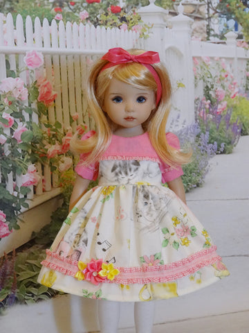 Spring Kitten - dress, tights & shoes for Little Darling Doll