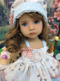 Spring Lamb - babydoll top, bloomers, hat & sandals for Little Darling Doll or 33cm BJD