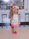 Spring Layers - Camisole, ruffled skirt, hat & shoes for Little Darling Doll
