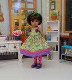 Spring Owl - dress, tights & shoes for Little Darling Doll or 33cm BJD