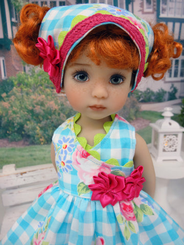 Spring Picnic - dress, kerchief & sandals for Little Darling Doll or 33cm BJD