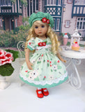 Spring Strawberries - dress, hat, tights & shoes for Little Darling Doll or 33cm BJD