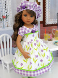 Spring Tulips - dress, hat, tights & shoes for Little Darling Doll