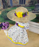 Spring Wildflowers - dress, hat, tights & shoes for Little Darling Doll or 33cm BJD