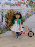 Spring Wishes - jacket, babydoll top, leggings & sandals for Little Darling Doll