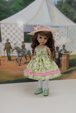 Spring Zephyr - dress, hat, tights & shoes for Little Darling Doll