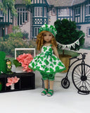 St. Patty - babydoll top, bloomers, hat & sandals for Little Darling Doll or 33cm BJD