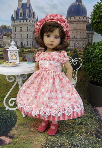 Strawberries & Cream - dress, hat, tights & shoes for Little Darling Doll or 33cm BJD