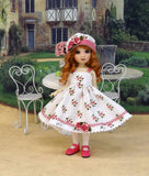 Strawberry Lane - dress, hat, tights & shoes for Little Darling Doll or other 33cm BJD