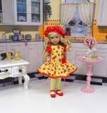 Strawberry Lemonade - dress, beret, tights & shoes for Little Darling Doll or other 33cm BJD
