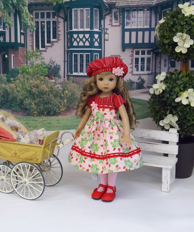 Strawberry Parfait - dress, hat, tights & shoes for Little Darling Doll or 33cm BJD