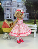 Strawberry Spritzer - dress, hat, tights & shoes for Little Darling Doll