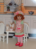 Strawberry Tart - dress, beret, tights & shoes for Little Darling Doll