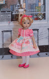 Sugar Cookie - dress & apron ensemble with tights & shoes for Little Darling Doll or 33cm BJD