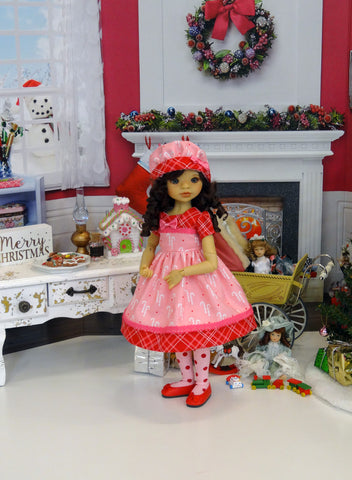 Sugared Candy Canes - dress, hat, tights & shoes for Little Darling Doll or 33cm BJD