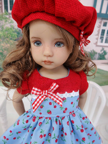 Summer Berry - dress, hat, socks & shoes for Little Darling Doll or 33cm BJD
