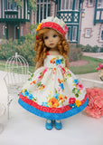 Summer Bouquet - dress, hat, tights & shoes for Little Darling Doll or 33cm BJD