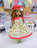 Summer Cherry - dress, hat, tights & shoes for Little Darling Doll or 33cm BJD