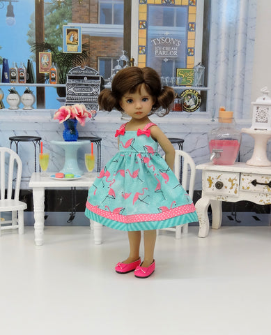 Summer Flamingo - dress & shoes for Little Darling Doll or 33cm BJD