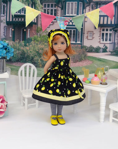 Summer Lemonade - dress, kerchief, tights & shoes for Little Darling Doll or 33cm BJD