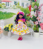 Summer Owl - dress, hat, tights & shoes for Little Darling Doll or 33cm BJD
