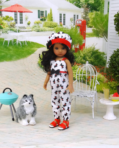 Summer Scottie - romper, hat & sandals for Little Darling Doll or 33cm BJD