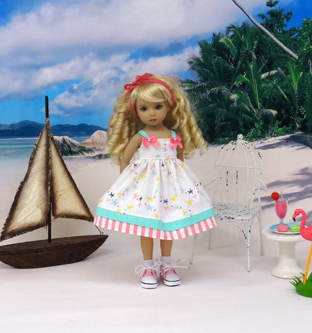 Summer Sea Turtle - dress, socks & shoes for Little Darling Doll or 33cm BJD