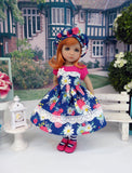 Summer Zinnia - dress, hat, tights & shoes for Little Darling Doll or 33cm BJD