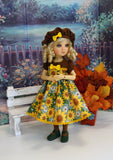 Sunflower Meadow - dress, beret, tights & shoes for Little Darling Doll
