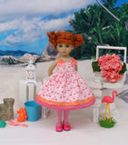 Sunny Flamingo - dress, tights & shoes for Little Darling Doll or 33cm BJD