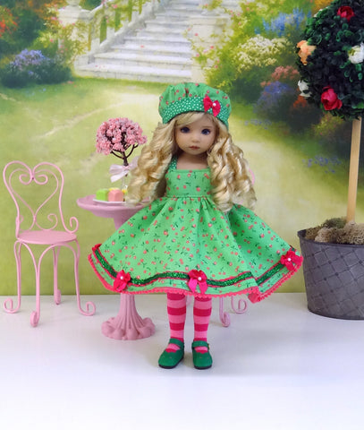 Sweet Cherries - dress, hat, tights & shoes for Little Darling Doll or other 33cm BJD