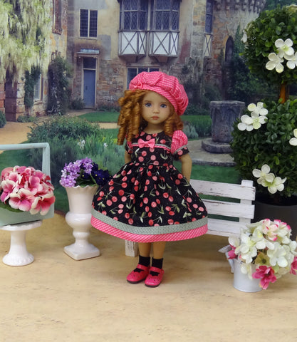 Sweet Cherry - dress, hat, socks & shoes for Little Darling Doll or 33cm BJD