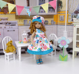 Sweet Cupcakes - dress, hat & sandals for Little Darling Doll or 33cm BJD