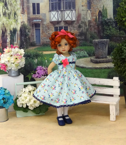 Sweet Floral - dress, tights & shoes for Little Darling Doll or other 33cm BJD